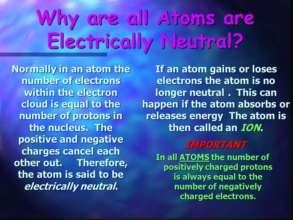 Why are all Atoms are Electrically Neutral