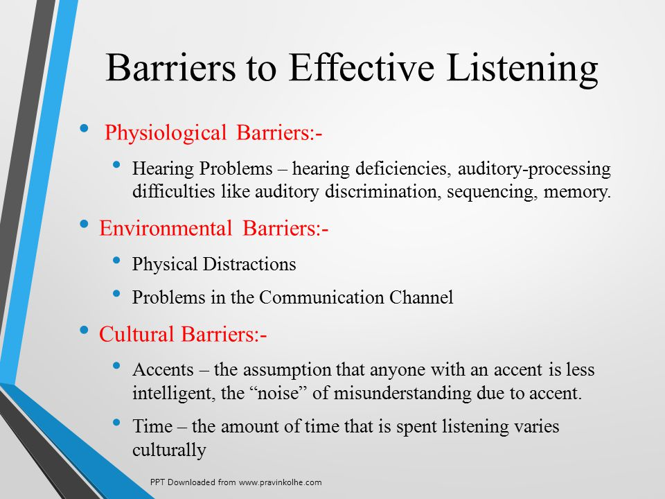 Barriers to Effective Listening