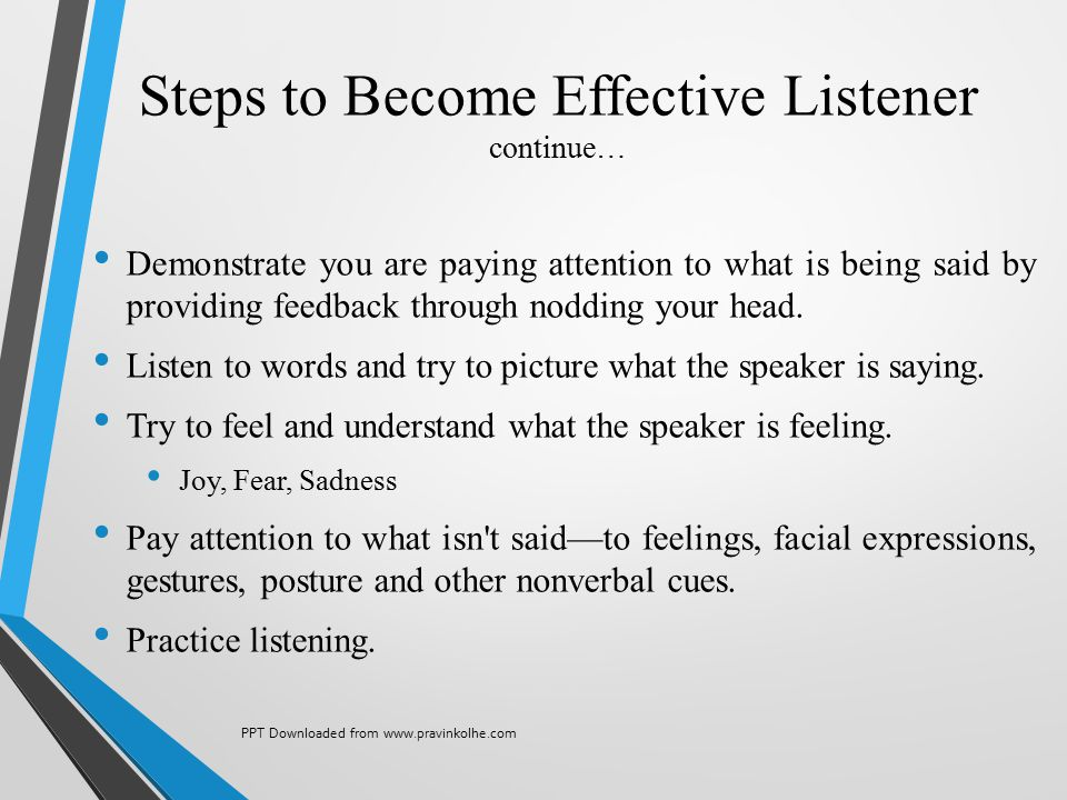 Steps to Become Effective Listener continue…