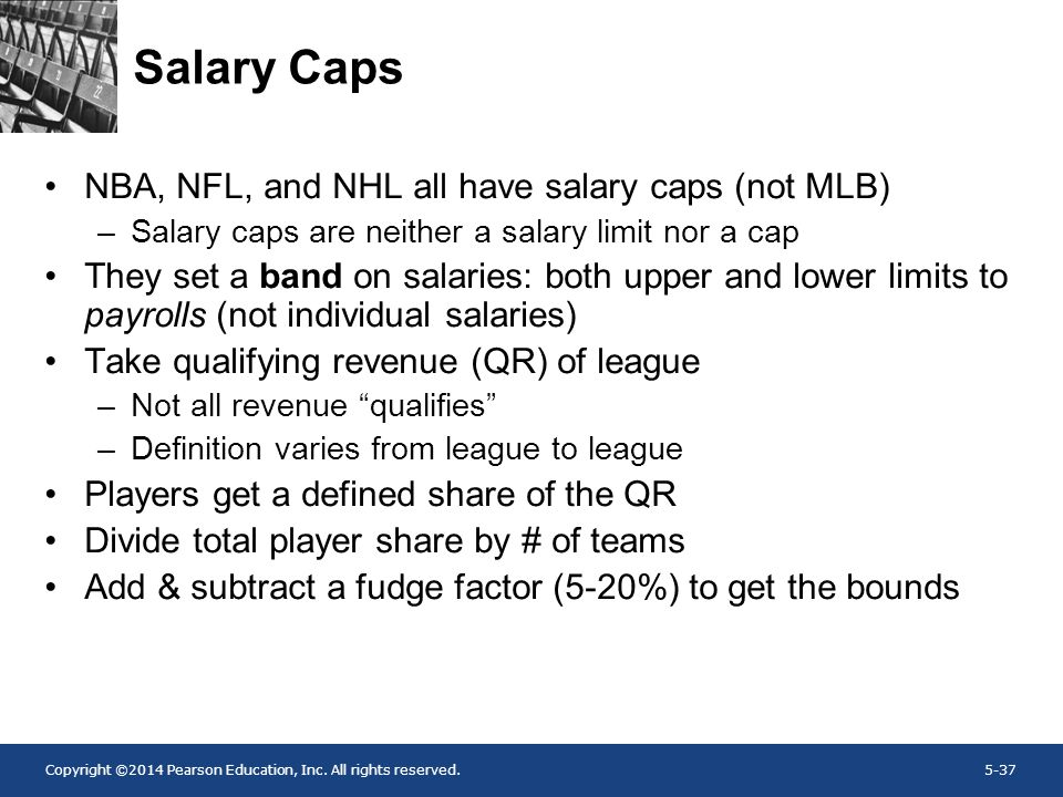 Salary Caps NBA, NFL, and NHL all have salary caps (not MLB)