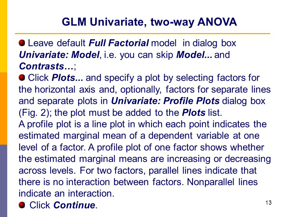 GLM Univariate, two-way ANOVA