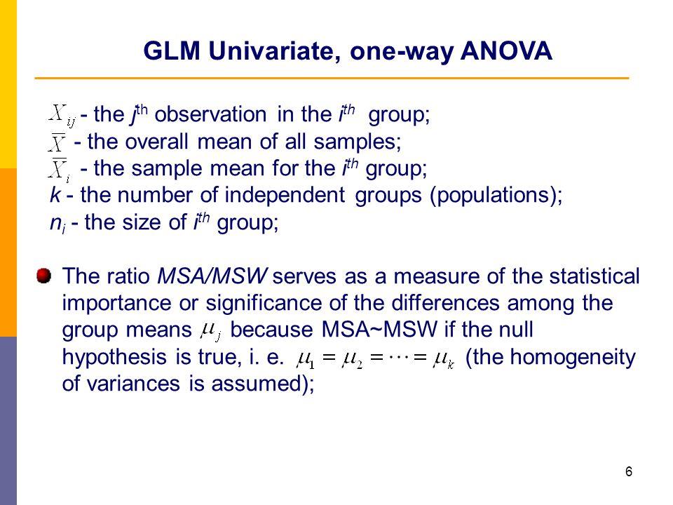 GLM Univariate, one-way ANOVA