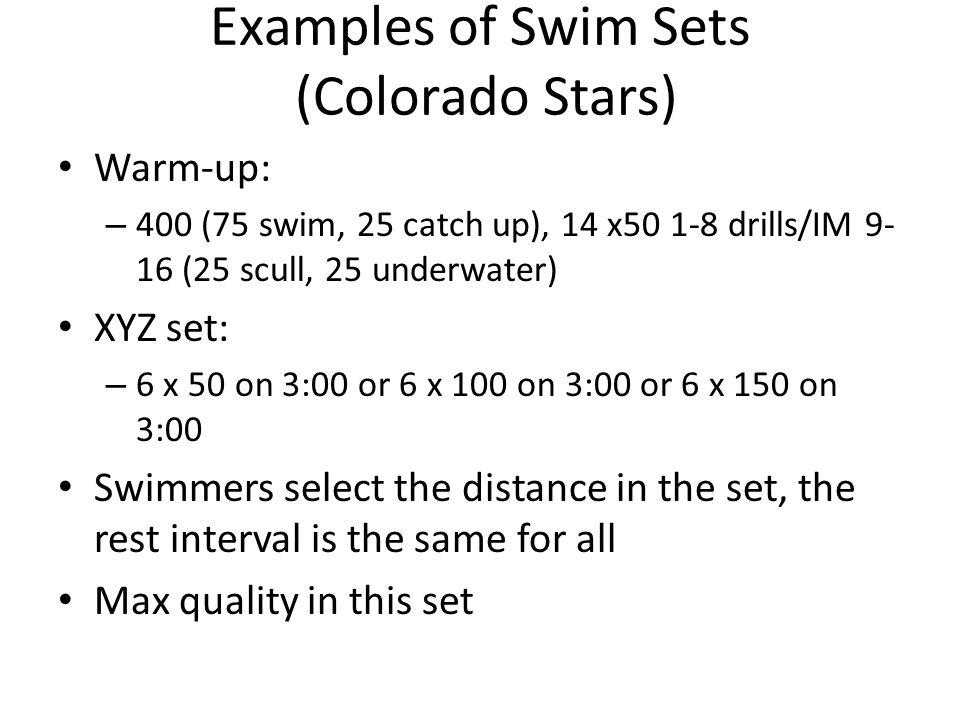 Examples of Swim Sets (Colorado Stars)