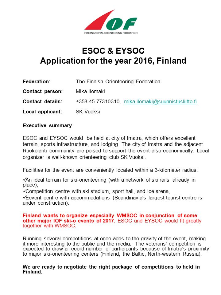ESOC & EYSOC Application for the year 2016, Finland