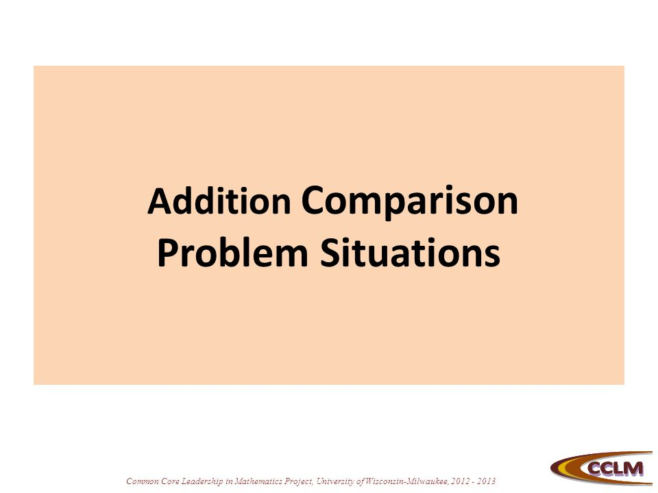 Addition Comparison Problem Situations
