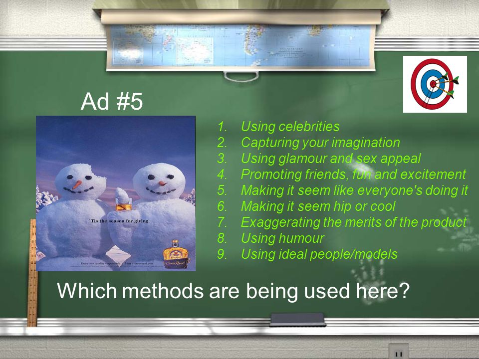 Ad #5 Which methods are being used here Using celebrities