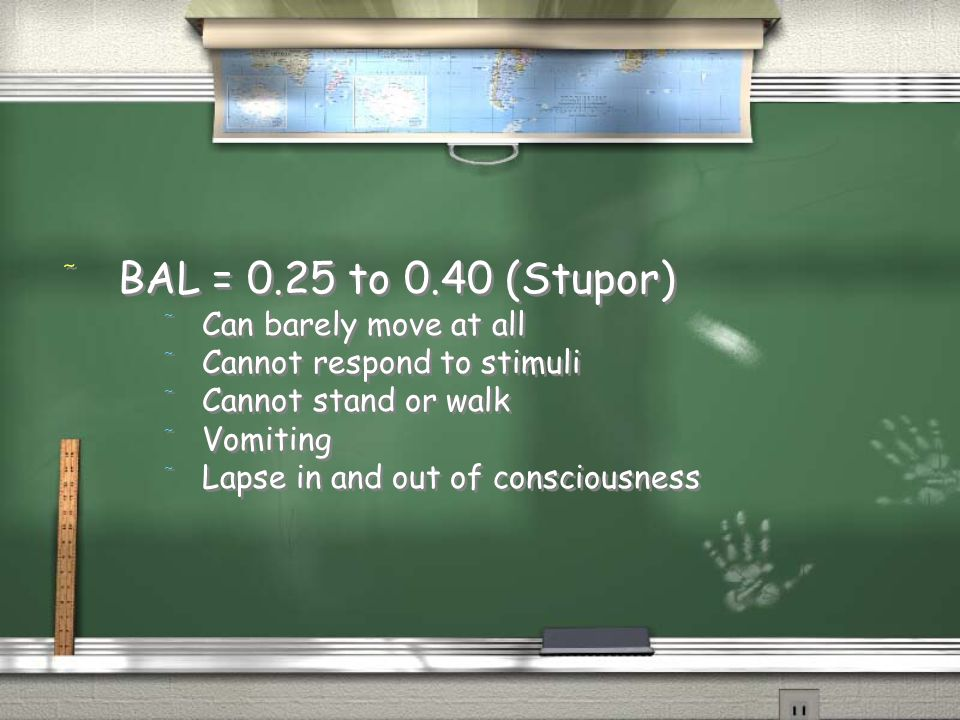 BAL = 0.25 to 0.40 (Stupor) Can barely move at all