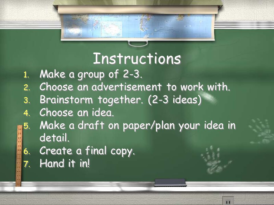 Instructions Make a group of 2-3.