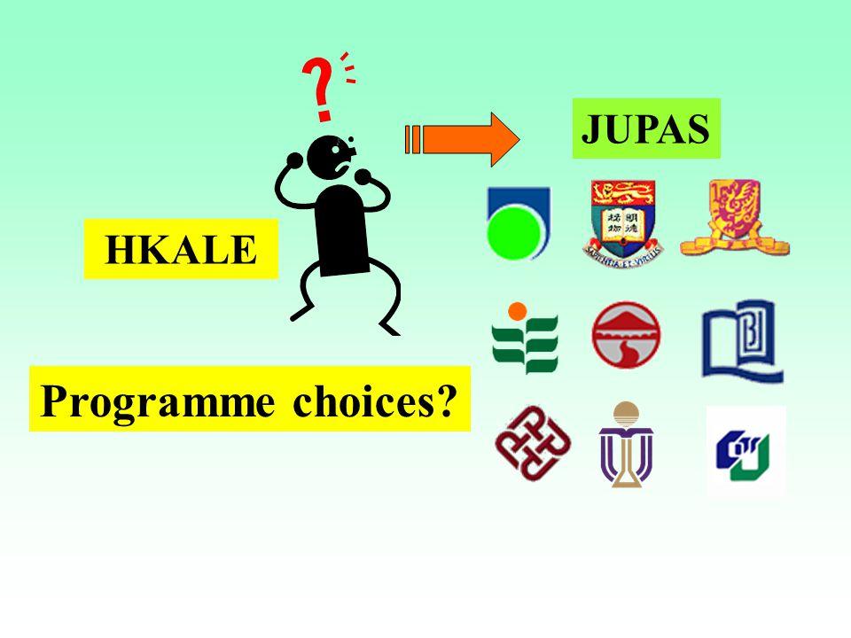 JUPAS HKALE Programme choices