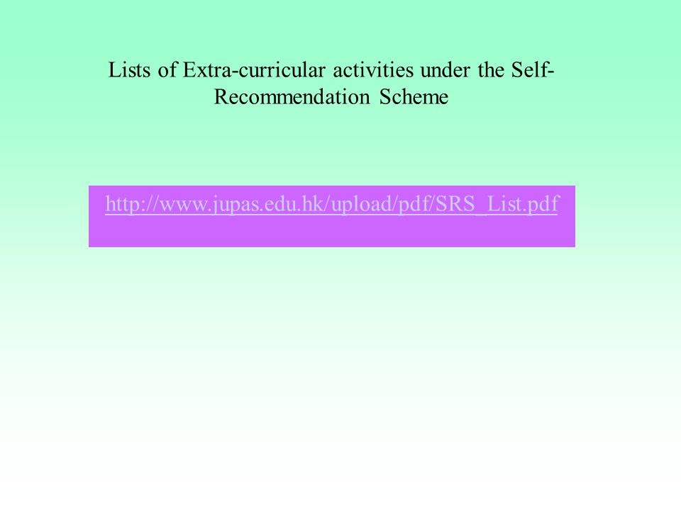 Lists of Extra-curricular activities under the Self-Recommendation Scheme