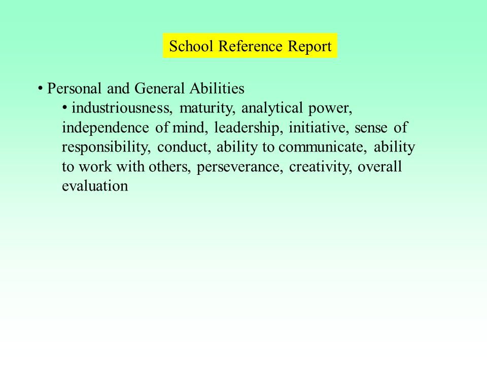 School Reference Report
