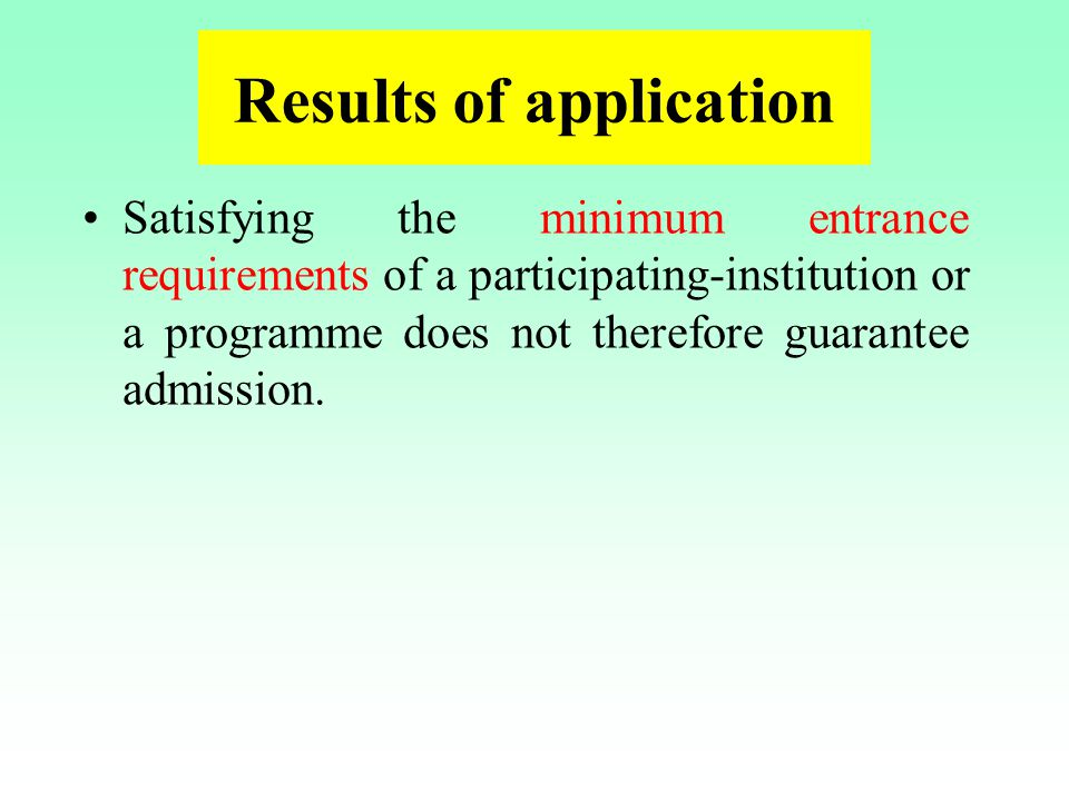 Results of application