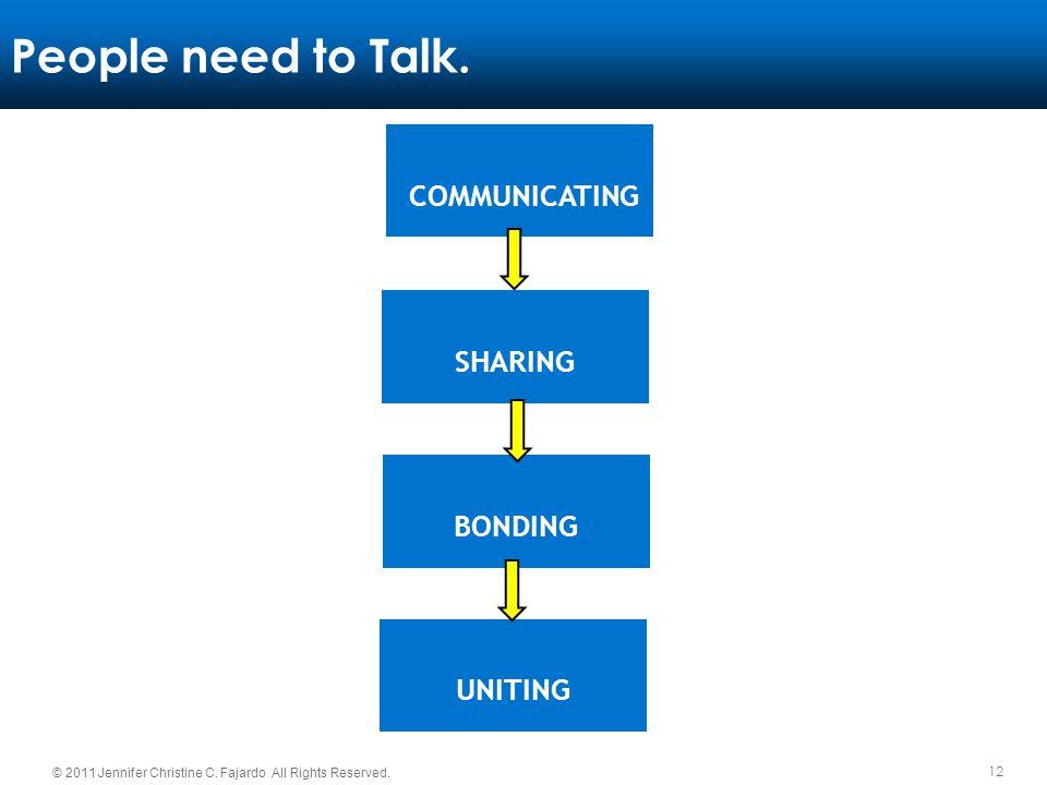 People need to Talk. COMMUNICATING SHARING BONDING UNITING