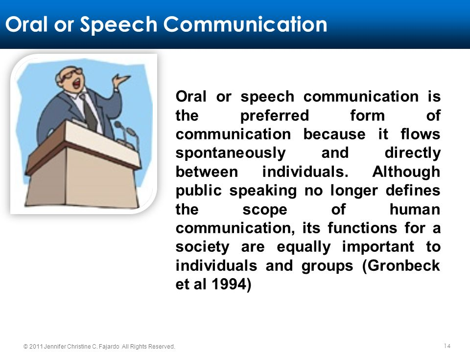 Oral or Speech Communication