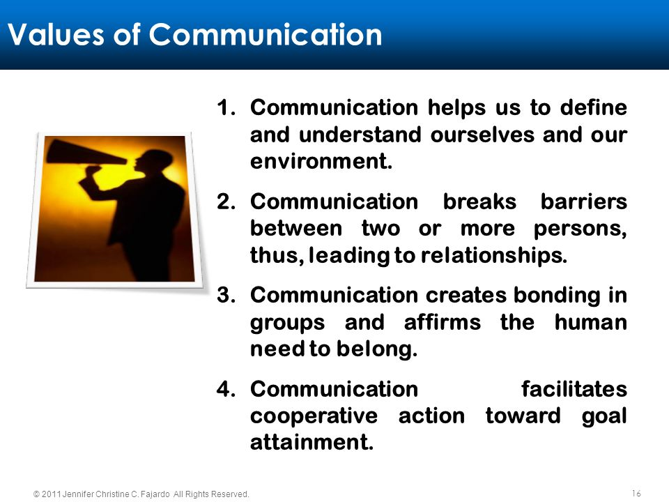 Values of Communication