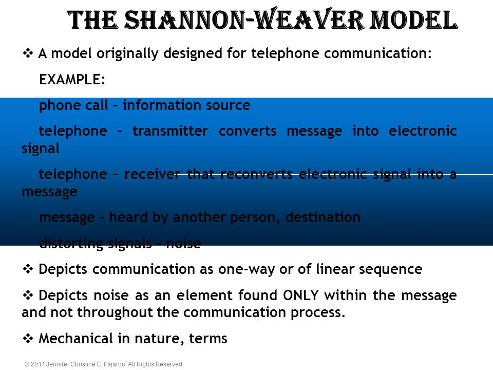 shannon and weaver model and its Shannon and weaver's model of communication is not complete, and here's why  is shannon and weaver's (1954) model of communication complete.