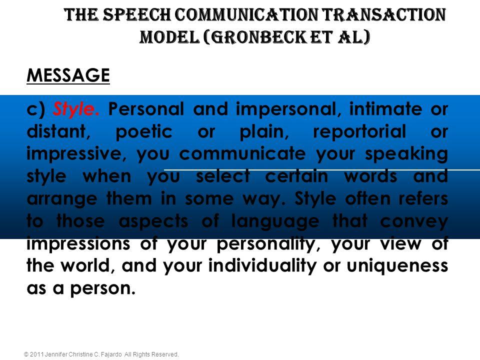 THE SPEECH COMMUNICATION TRANSACTION Model (Gronbeck et al)