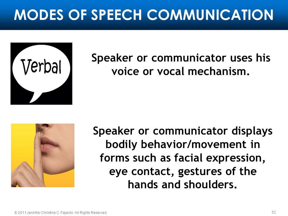 MODES OF SPEECH COMMUNICATION