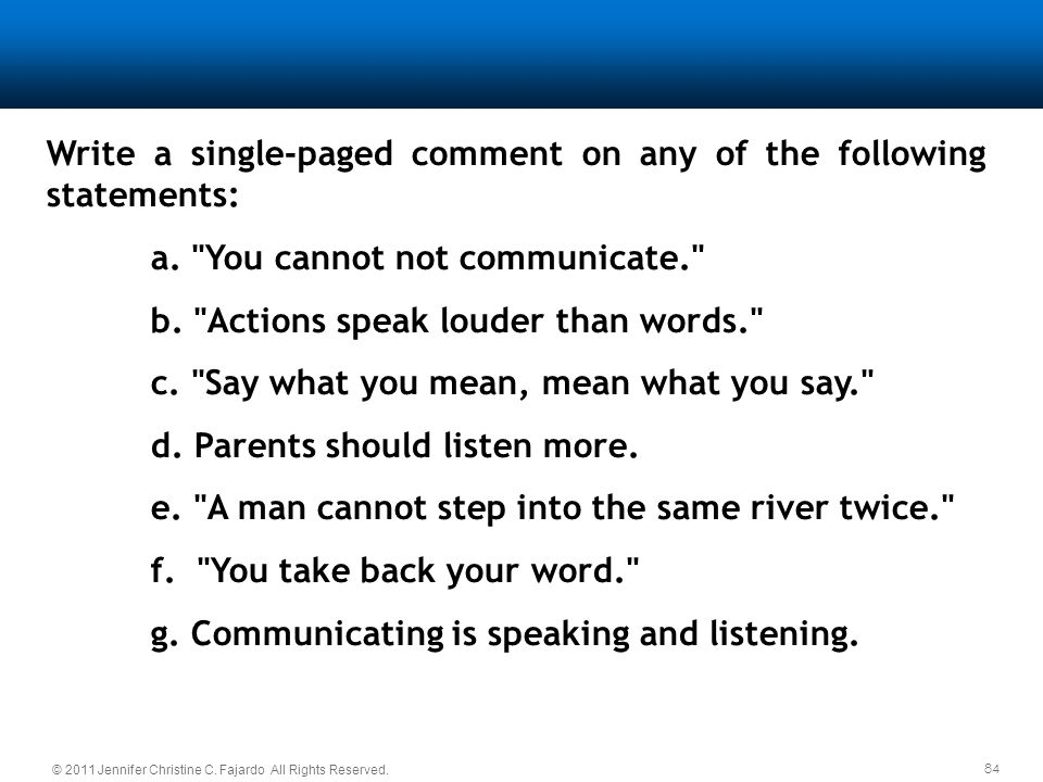 Write a single-paged comment on any of the following statements: