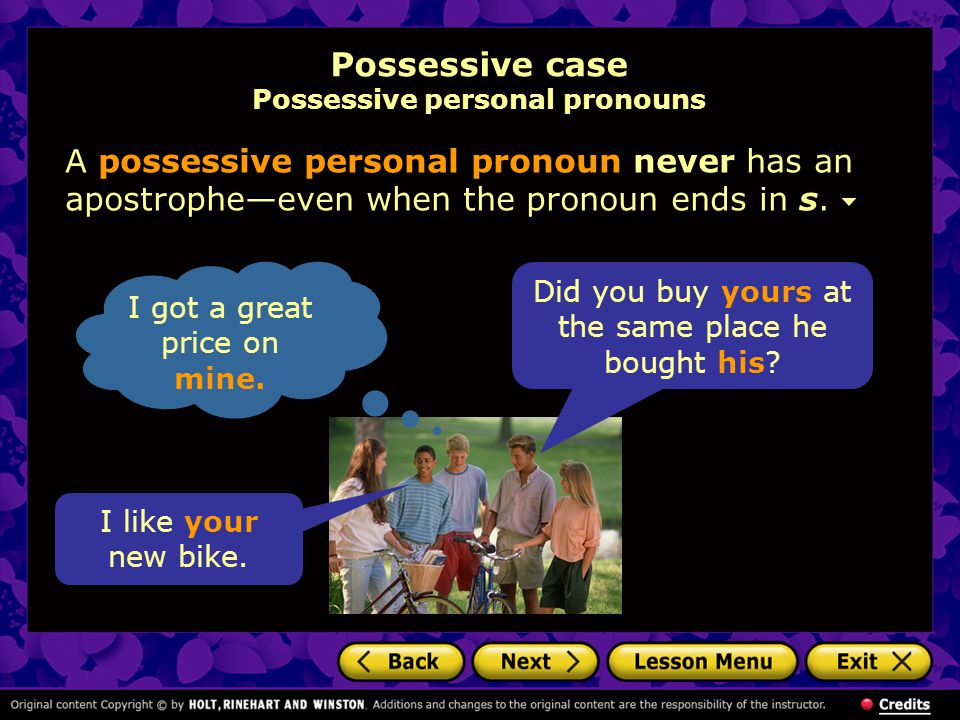 Possessive case Possessive personal pronouns