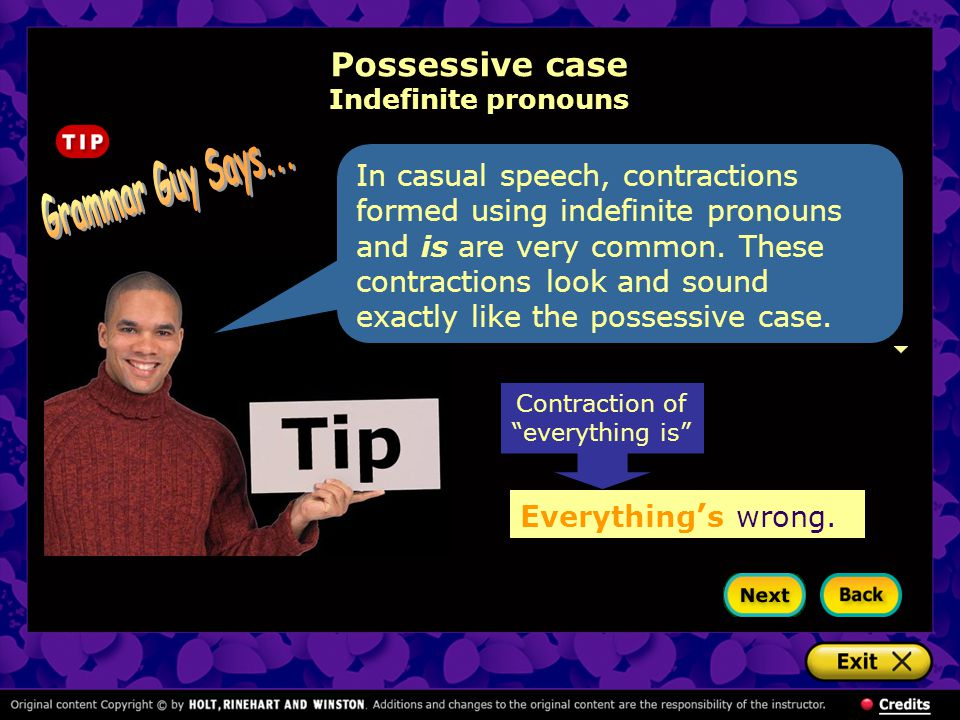 Possessive case Indefinite pronouns