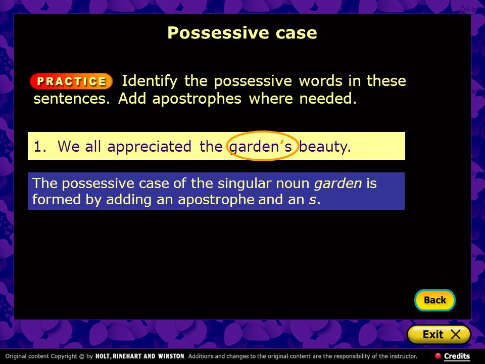 Possessive case Identify the possessive words in these sentences. Add apostrophes where needed. 1. We all appreciated the garden's beauty.
