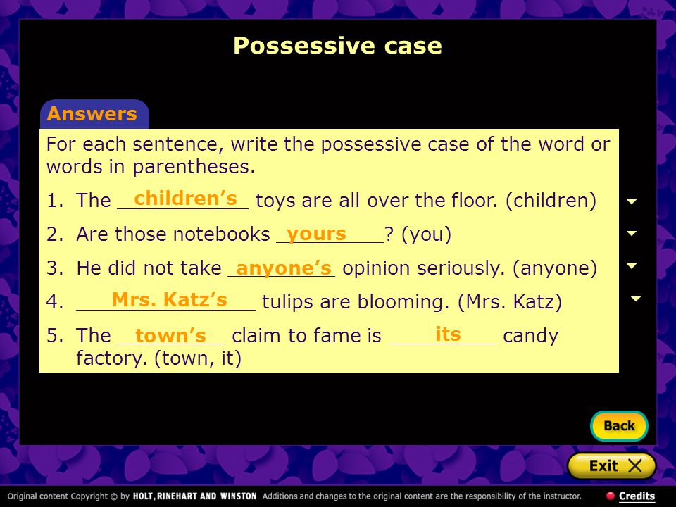Possessive case Answers