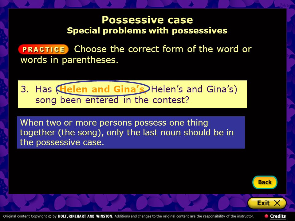 Possessive case Special problems with possessives