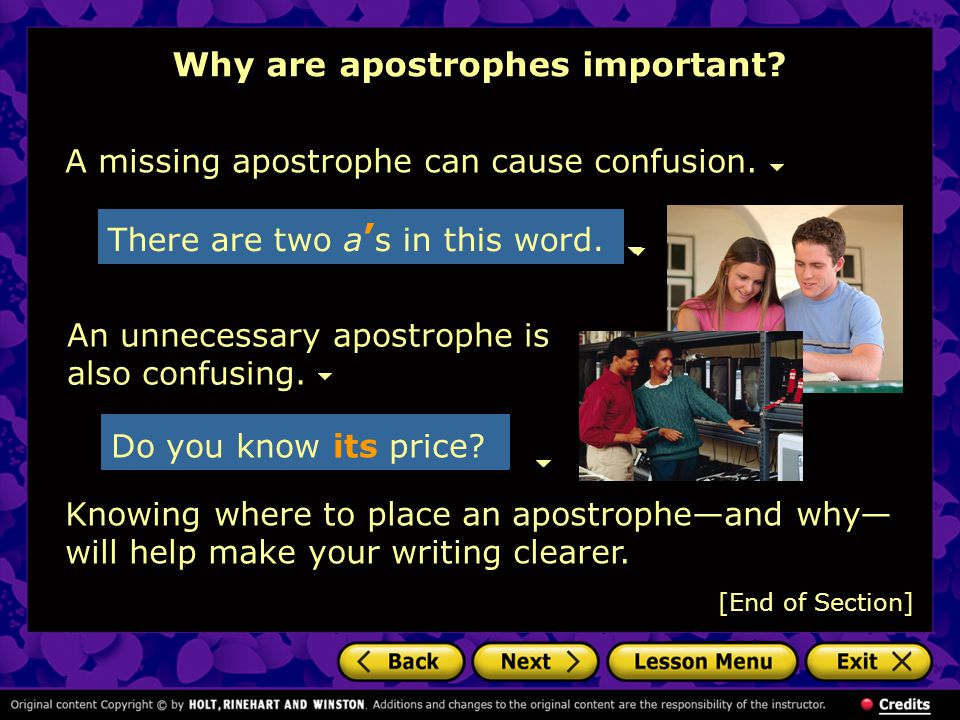 Why are apostrophes important