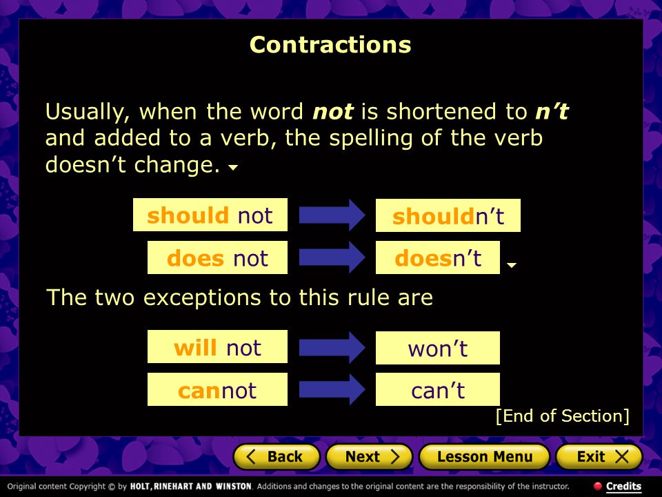 Contractions Usually, when the word not is shortened to n't and added to a verb, the spelling of the verb doesn't change.