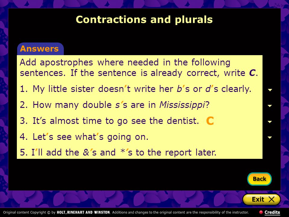 Contractions and plurals