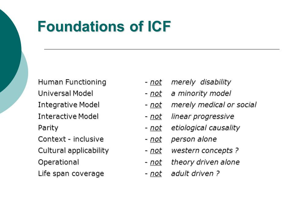 Foundations of ICF Human Functioning - not merely disability