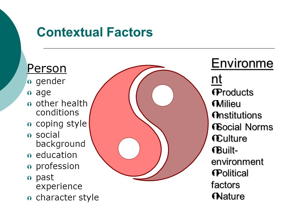 Contextual Factors Environment Person Products Milieu Institutions