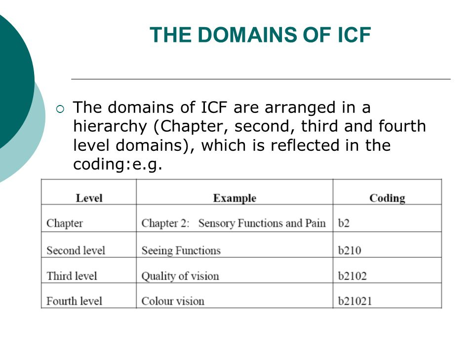 THE DOMAINS OF ICF