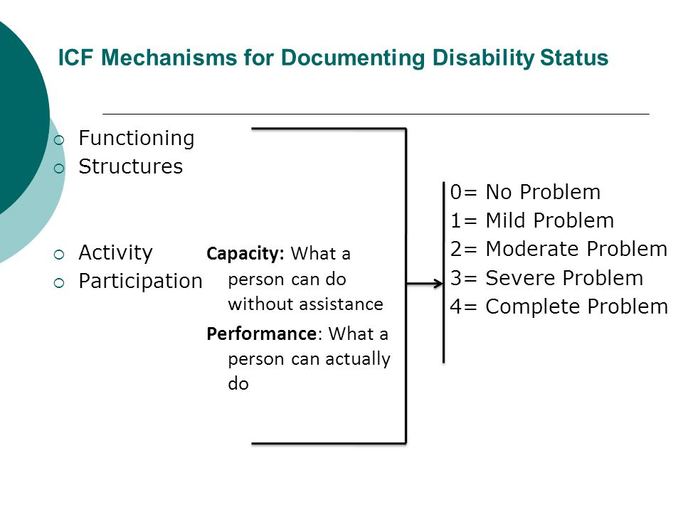 ICF Mechanisms for Documenting Disability Status
