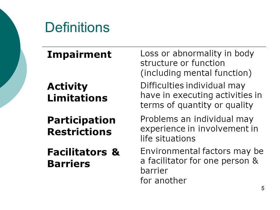 Definitions Impairment Activity Limitations Participation Restrictions