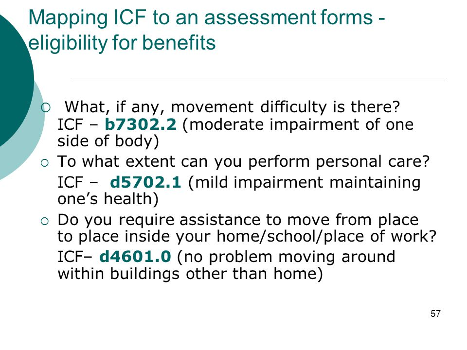 Mapping ICF to an assessment forms - eligibility for benefits