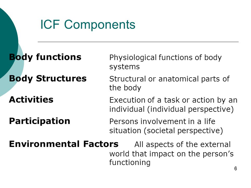 ICF Components Body functions Physiological functions of body systems