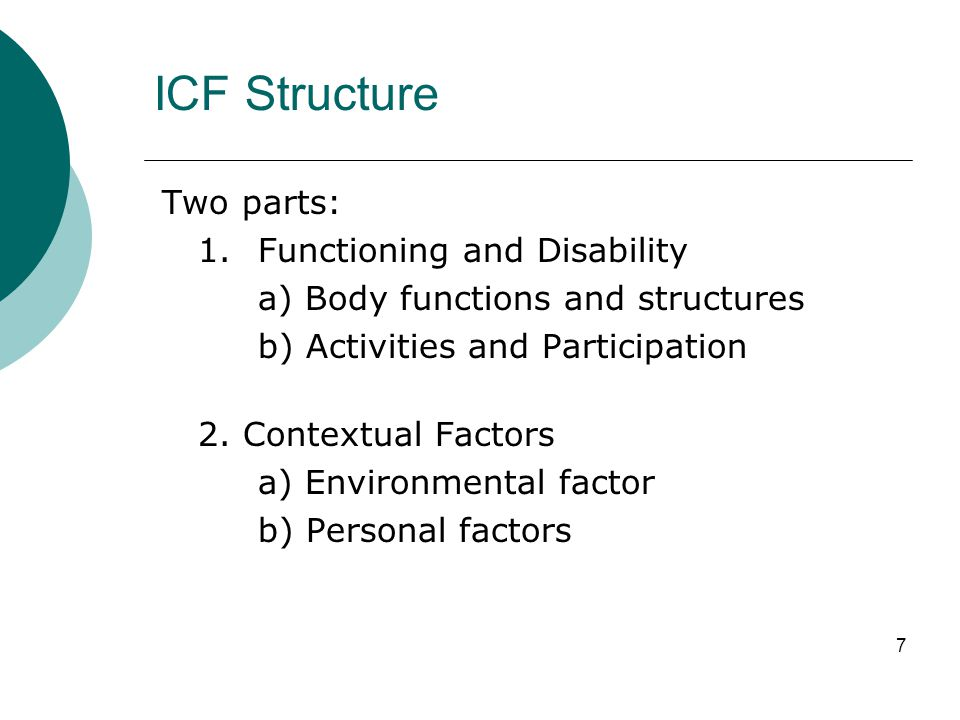 ICF Structure Two parts: 1. Functioning and Disability