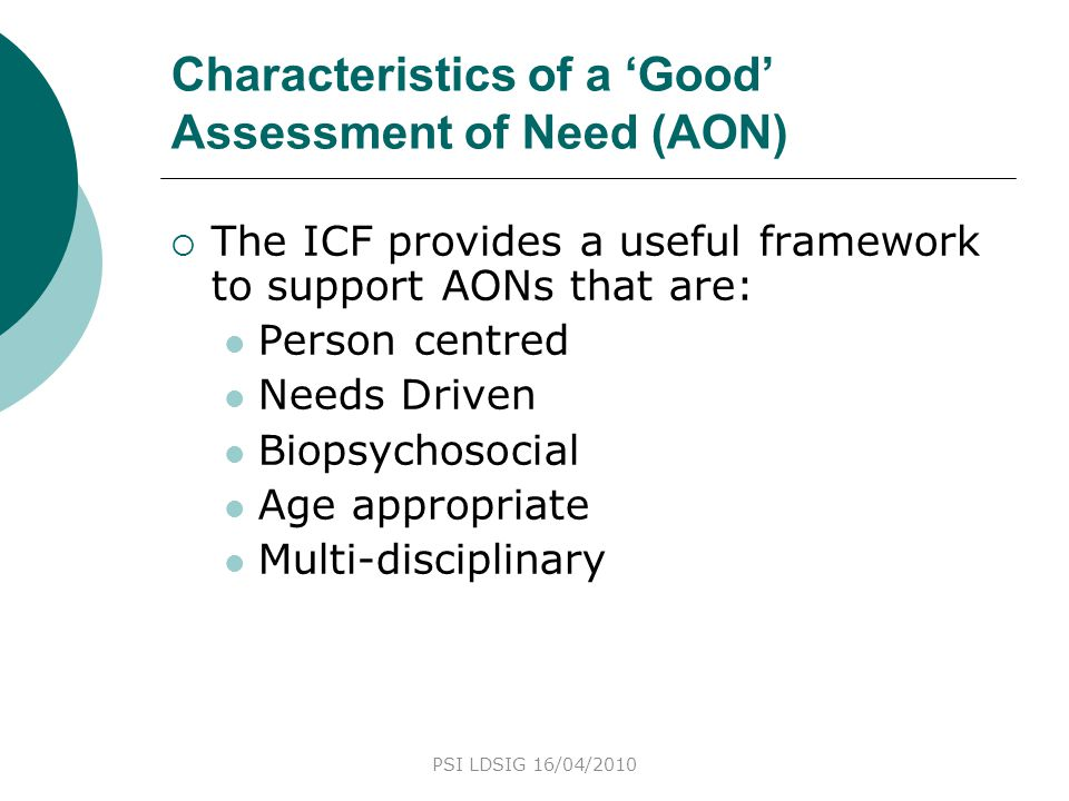 Characteristics of a 'Good' Assessment of Need (AON)