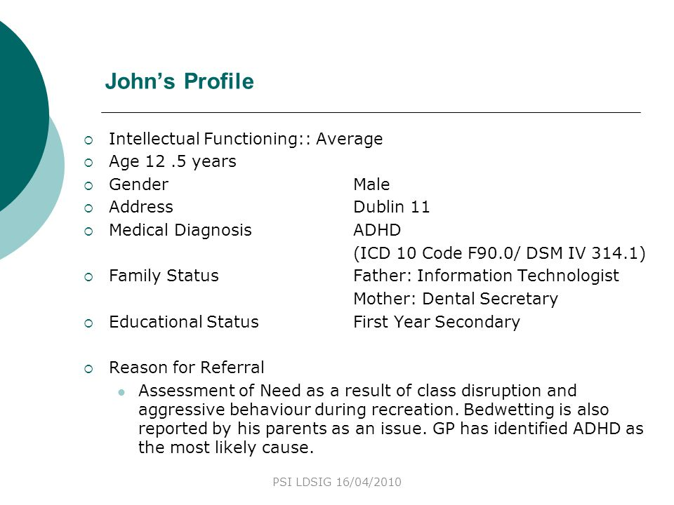 John's Profile Intellectual Functioning:: Average Age 12 .5 years