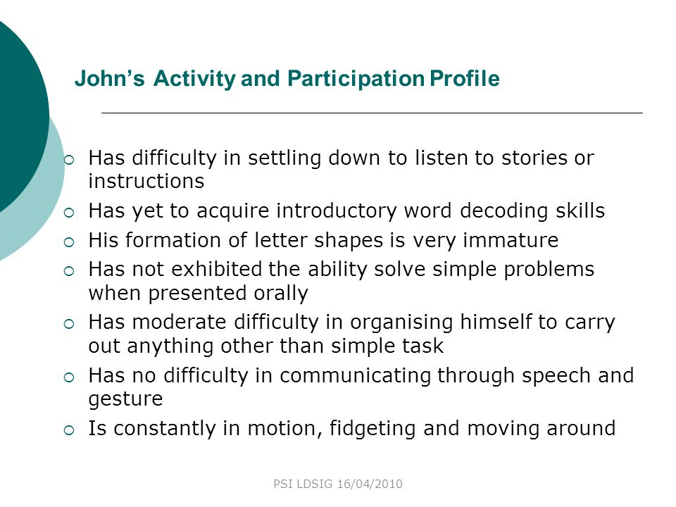 John's Activity and Participation Profile