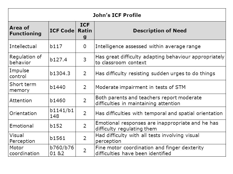 John's ICF Profile ICF Rating Description of Need