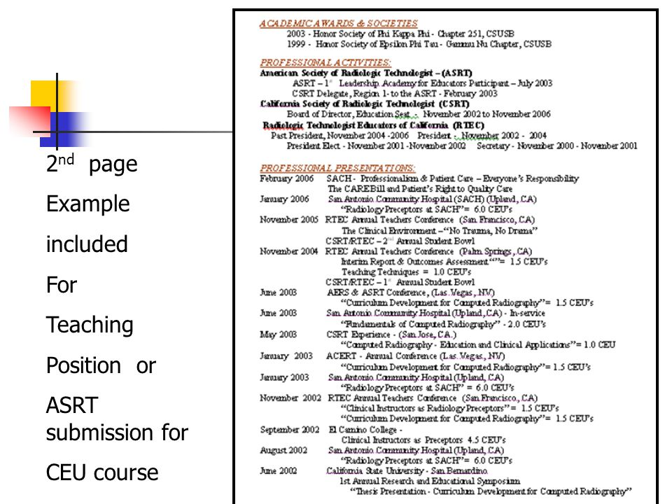 2nd page Example included For Teaching Position or ASRT submission for CEU course