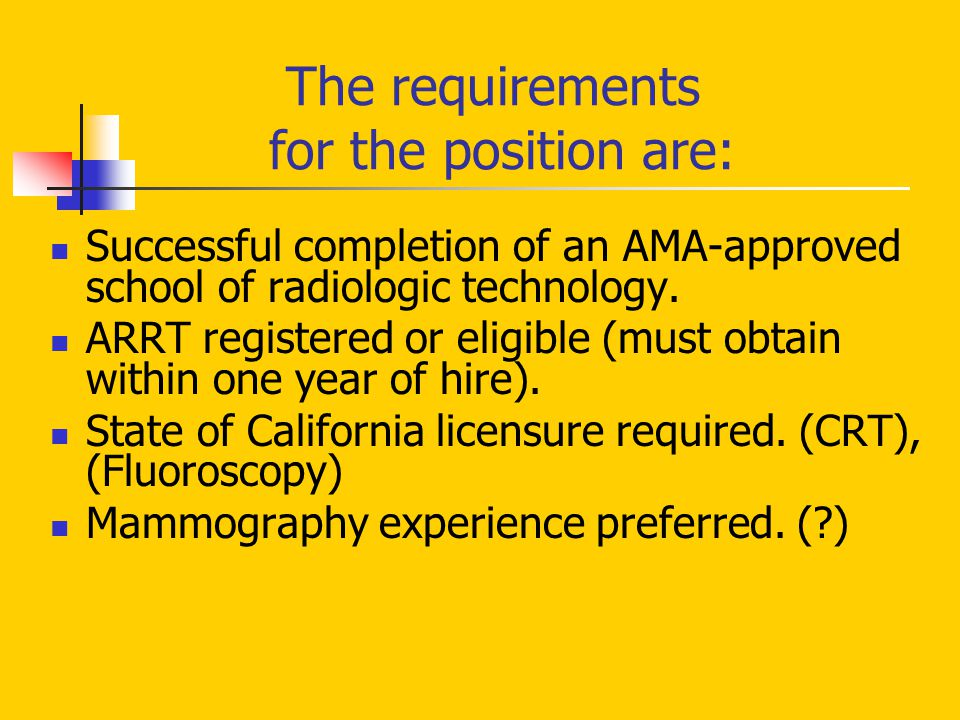 The requirements for the position are: