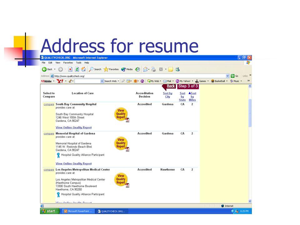 Address for resume