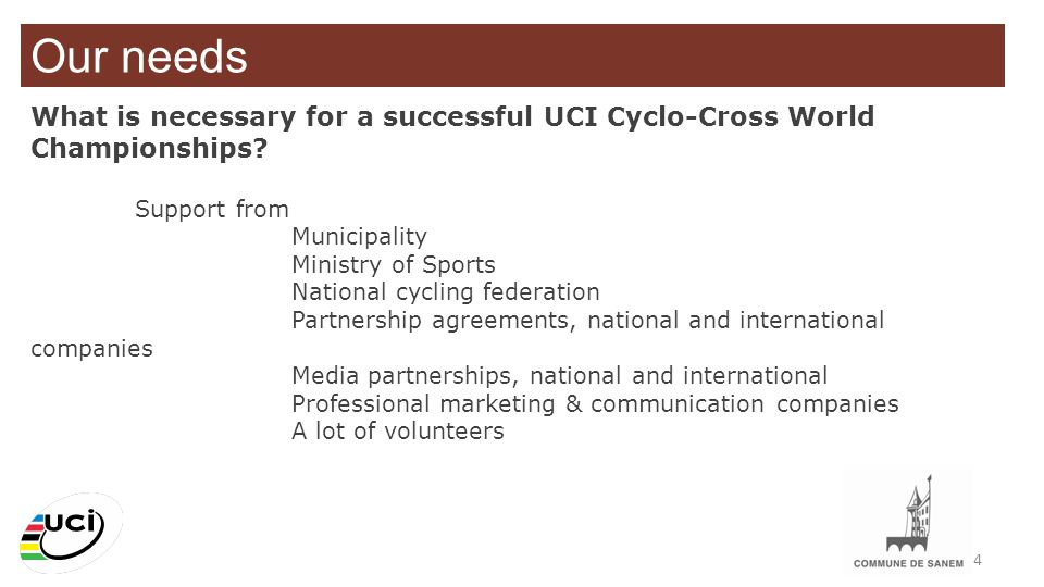 Our needs What is necessary for a successful UCI Cyclo-Cross World Championships Support from. Municipality.