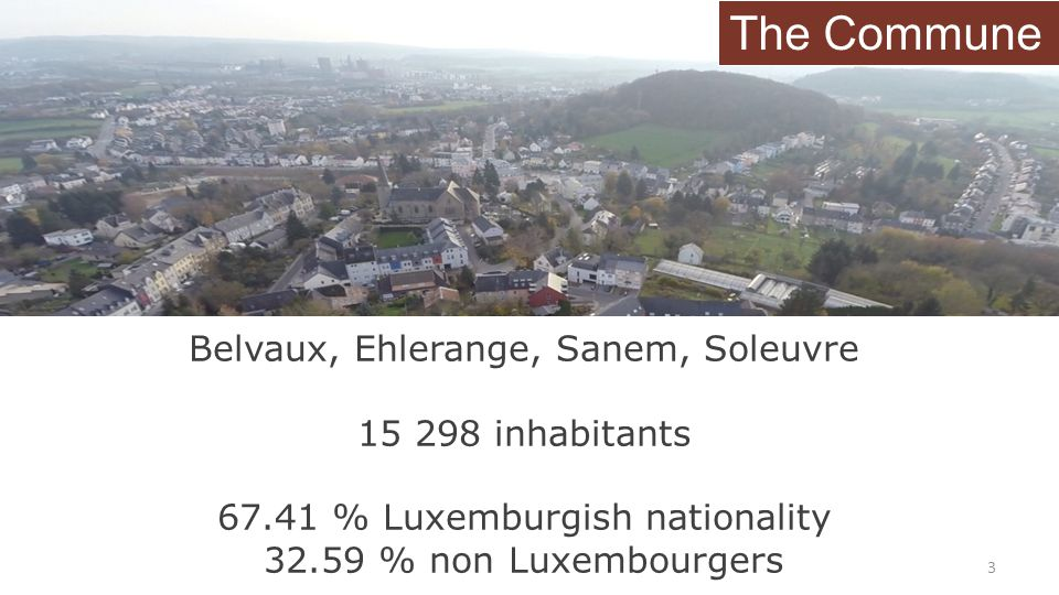 The Commune Belvaux, Ehlerange, Sanem, Soleuvre 15 298 inhabitants