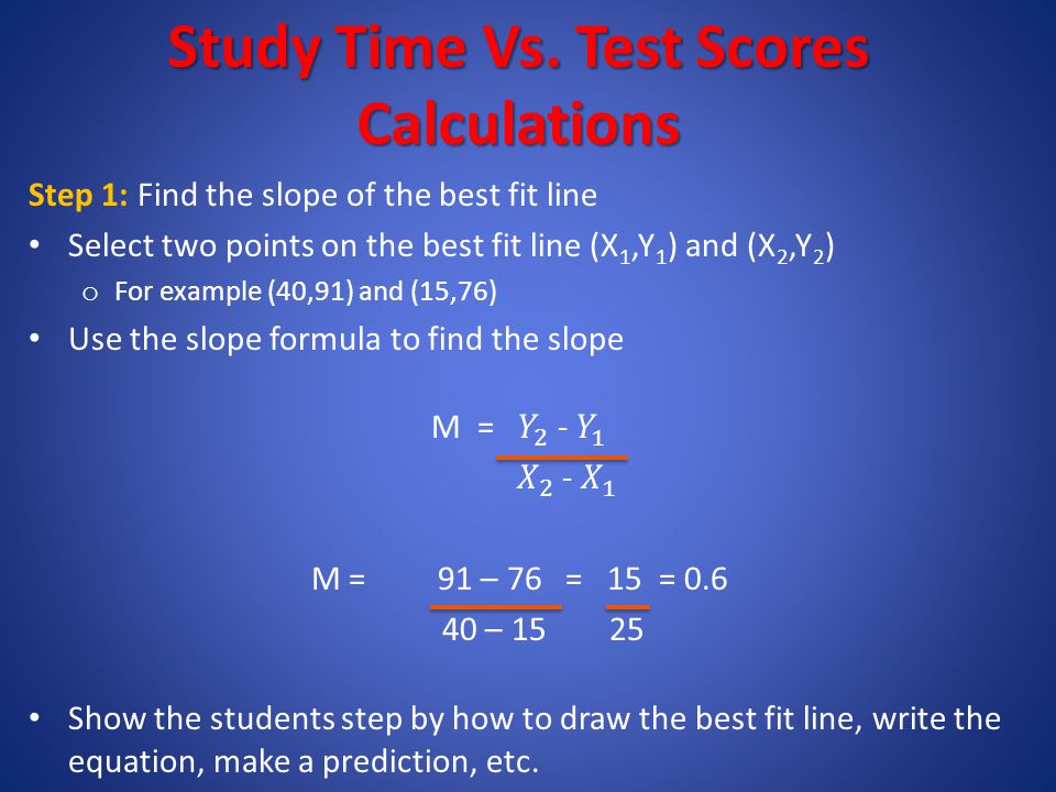 Study Time Vs. Test Scores Calculations