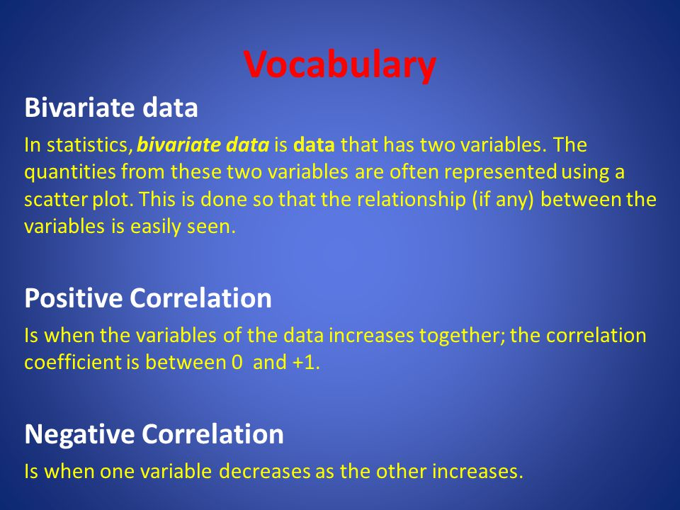 Vocabulary Bivariate data Positive Correlation Negative Correlation